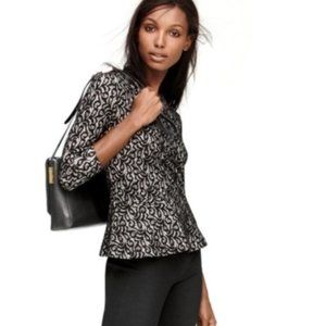 J. Crew Black Lace Peplum Top Blouse 3/4 Sleeve L